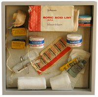 Detailed image of the contents of a medical memory box for the NHS reminiscence display