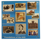 Remniscence display artwork featuring hospitals, nurses and the national health service