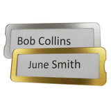Door furniture, brushed silver and gold interchangeable name plates for alzheimer's and dementia care home The Care Home Designer