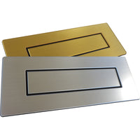 Door furniture, brushed silver and gold letter boxes for alzheimer's and dementia care home The Care Home Designer