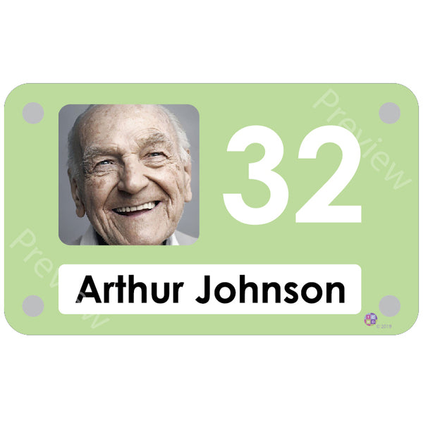 Pastel green coloured personalised pictorial bedroom sign with name and number