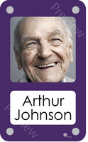 Purple coloured personalised pictorial care home bedroom sign with name