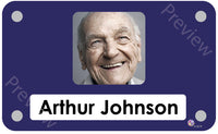 Royal blue coloured personalised pictorial care home bedroom sign with name