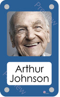 Blue coloured personalised pictorial care home bedroom sign with name