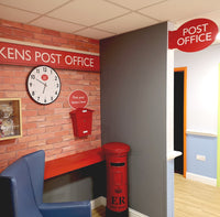 Wallpaper Mural of a Post Office designed for dementia care home with a themed memory box , clock and posting box