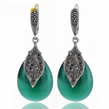 Women's Earrings With Stone Green Black Rhinestone Leaf - Planet service
