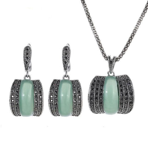 Original Green Stone Fine Vintage Jewelry Sets For Women - Planet service