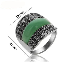 Women's Rings Stone With Black Rhinestones Jewelry - Planet service