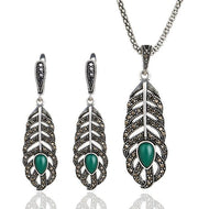 Women's Green Resin Stone Jewelry Set - Planet service