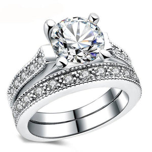 Women's 4 Prong Round CZ Double Ring Jewelry - Planet service