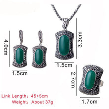 Women's Ring Big Stone Resin Square Pendant Jewelry Set - Planet service