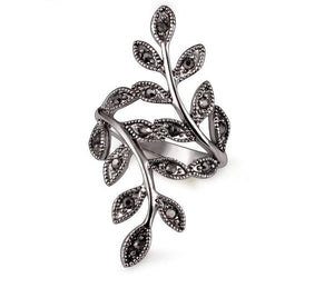 Women's Black Rhinestone Antique Leaf Ring Jewelry - Planet service