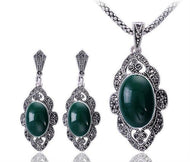 Women's Black Rhinestone Resin Green Vintage Jewelry Sets - Planet service