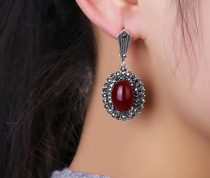 Women's Black Rhinestones Antique Red Stone Jewelry Sets - Planet service