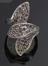 Women's Jewelry Rhinestones Vintage Three Leaves Ring - Planet service