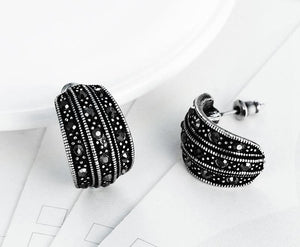 Women's Simple Black CZ Stud Earrings Retro Jewelry-Planet service