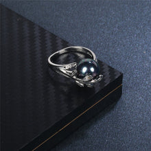 Women's Pearl Leaf Ring Open Rhinestone - Planet service