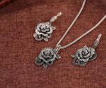 Women Jewelry Sets Black CZ Rose Flower - Planet service