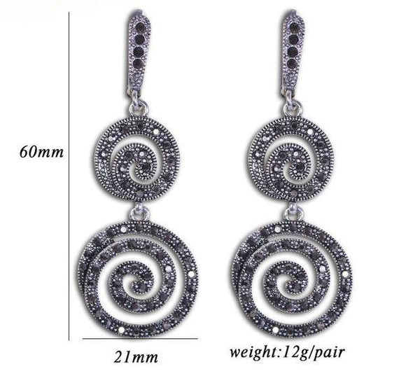 Women's Black Crystal Pendant Thread Shape Drop Earrings - Planet service