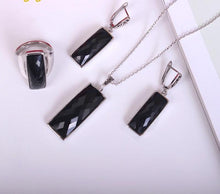 Women's Black Crystal Rhinestone Square Jewelry Sets - Planet service