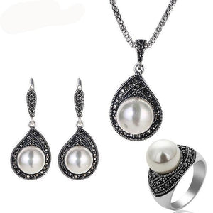 Antique Silver Color Vintage Jewelry Sets For Women - Planet service