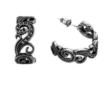 Women's Retro Flower Design Antique Silver Earrings Black CZ - Planet service