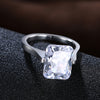 Women's Style Square Clear Cubic Zirconia Ring Jewelry - Planet service