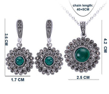 Women's Black CZ Resin Stone Sunflower Shape Jewelry Sets - Planet service