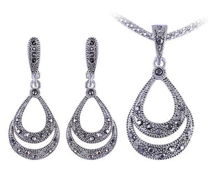Women's Black Rhinestone Water Drop Retro Jewelry Set - Planet service