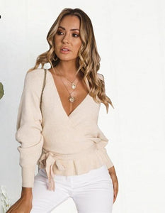 Women Ribbed Sweater Casual Sash Tie Waist Batwing Sleeve - Planet service