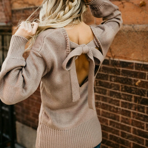 Women Knitted Sweater Bow Backless Long Lantern Sleeve - Planet service