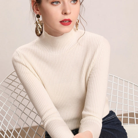 Women Turtleneck Slim Sweater Pullover Knitted - Planet service
