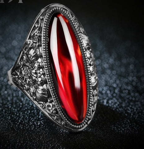 Women's Red Garnet Exaggerated Large Retro  Rings - Planet service