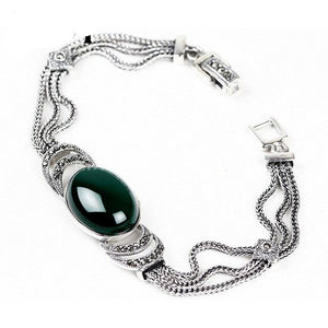 Silver Green Red chalcedony agate DIY bracelets For Women - Planet service