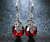 Women's Flower Earrings  Gemstone Vintage Silver Garnet - Planet service