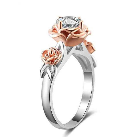 Women's Crystal Engagement Ring Natural Topaz Rose Flower - Planet service