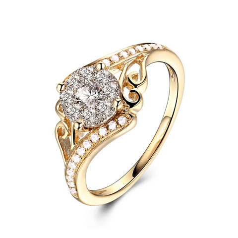 Women Diamond Ring 1ctw Round Cut 9K Yellow Gold Rings - Planet service