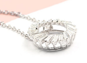 Women's Pendant Necklace Natural Emerald Cut Diamond - Planet service