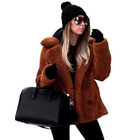Women's Fur Jacket Coat Winter Fleece Warm Thick Faux - Planet service