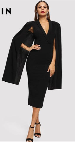 Women Spring Elegant Party Dresses Cape Sleeve Deep V Neck - Planet service