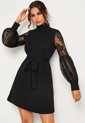 High Neck Contrast Lace Lantern Sleeve Dress With Belt Women - Planet service