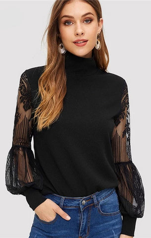 Women High Neck Lace Lantern Sleeve Mesh Blouse