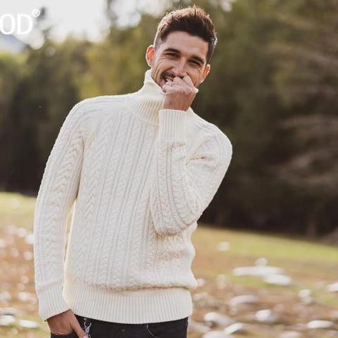 Men Cable-Knit Turtleneck Sweater - Planet service