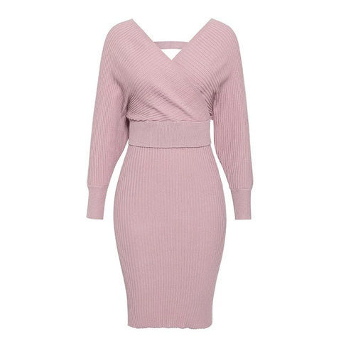 Women's knitted skirt suits sweater pink dress sleeve v-neck - Planet service