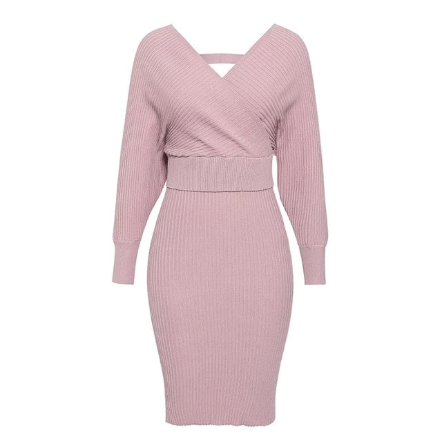 Women's knitted skirt suits sweater pink dress sleeve v-neck