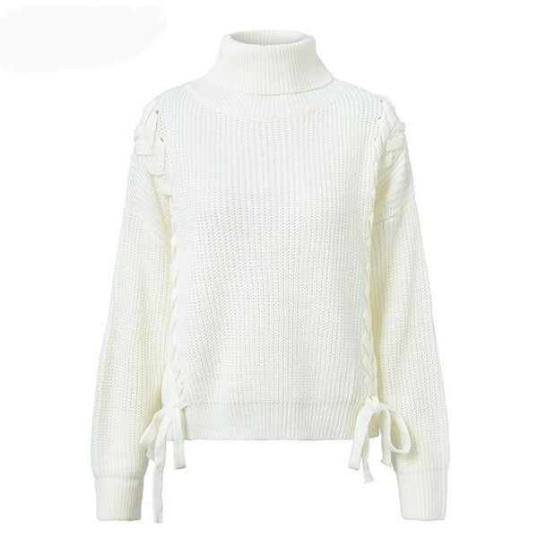 Women Loose pullover side lace up sweaters batwing sleeve - Planet service