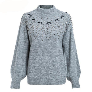 Women's knitted sweater lantern sleeve loose gray pullover - Planet service