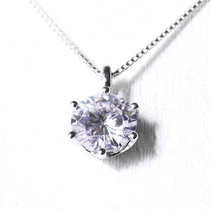 Women pendant necklace Diamond solitaire slide white gold - Planet service