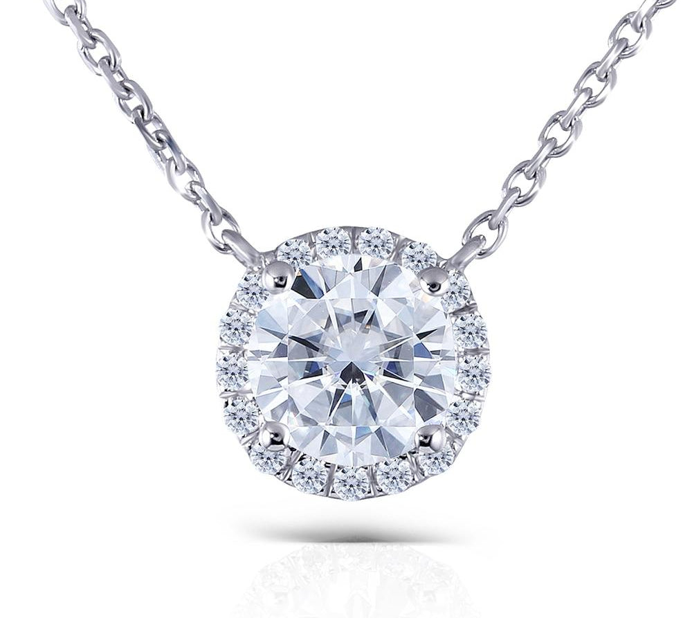 Women's Pendant Necklace Solid White Gold Diamond Halo - Planet service