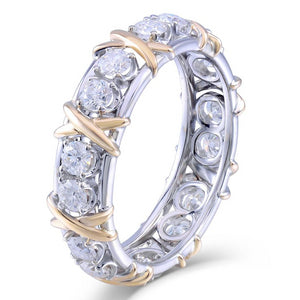 Women's Ring Yellow and White Gold Diamond Eternity - Planet service